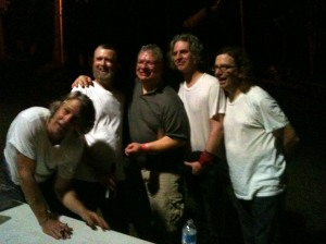 The Rainmakers pose for a picture with a fan after the show. The graciously stayed to sign everything for everyone that wanted a signature or take a picture. Left to right: Jeff Porter, Rich Ruth, a fan, Bob Walkenhorst, Rich Ruth