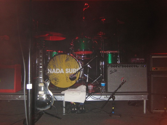 Nada Surf's stage setup at The Waiting Room in Omaha