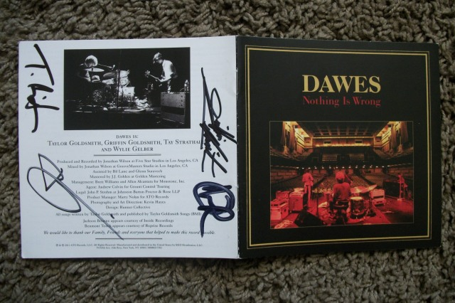 Dawes signed Nothing Is Wrong cd booklet
