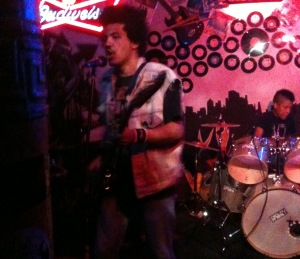 Radkey rocks out at The Rendezvous Bar on 10/26/12. Isaiah Radkey on the left, Solomon Radkey on drums.