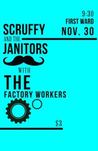 Scruffy & The Janitors album release poster.
