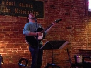 Colby Walter belts out some solo tunes at The First Ward House in St. Joseph, MO.