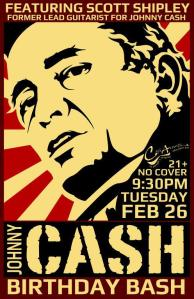 Scott Shipley's Johnny Cash birthday bash at the Cafe Acoustic poster.