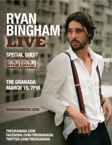 Ryan Bingham poster for his show in Lawrence, Kansas on 3/15/13