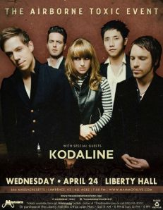 Airborne Toxic Event / Kodaline poster for their show at Liberty Hall in Lawrence, Kansas.