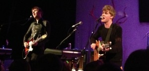 Kodaline fights jetlag during their half-hour set at Liberty Hall in Lawrence, Kansas on 4/24/13.