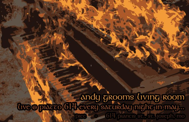 Andy Grooms Living Rooms poster for his series of shows at Piatto 614 during May 2013.