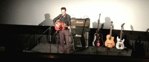 Ike Reilly performing at the Body Of War screening in Kansas City, Missouri on 5/19/13.