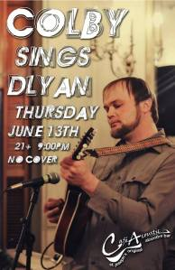 Colby Walter sings Bob Dylan concert poster