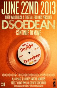 Dsoedean album release poster with Scuffy & The Janitors and Cupcake.