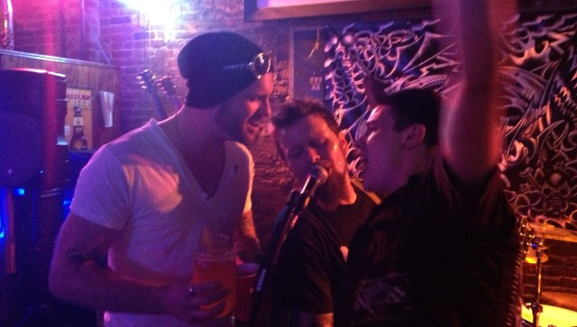 "Wade Williamson and Marc Newberry help Todd Cooper of Third Wounded Man sing The Misfits' ""Skulls"" live at The First Ward on 7/12/13"