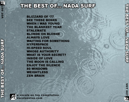 "The back, or ""u-card"" of the Vocals On Top compilation, The Best of... Nada Surf"