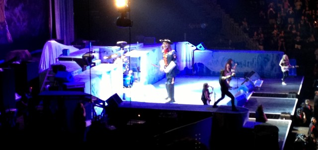 A giant robotic Eddie comes out on stage to try to get members of Iron Maiden at The Sprint Center in Kansas City on 9/8/13.