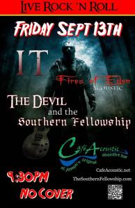 It and The Devil and the Southern Fellowship and Fires of Eden Friday the 13th poster.
