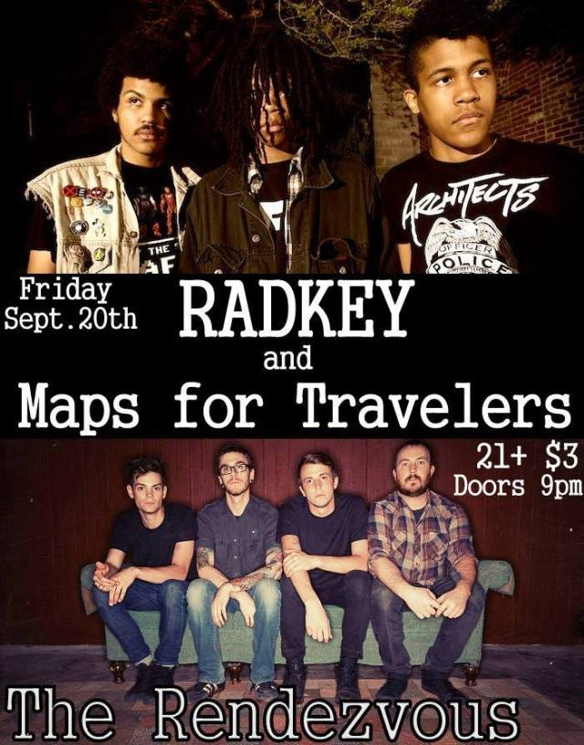 The gig poster for Radkey and Maps For Travelers' show at The Rendezvous in St. Joseph, MO 9/20/13.