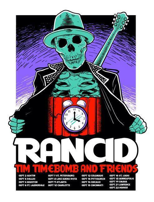 Rancid and Tim Timebomb 2013 tour poster.