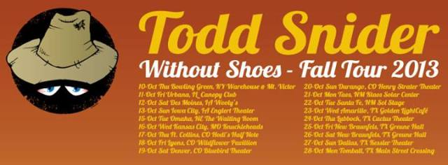 Todd Snider Fall 2013 Tour Header
