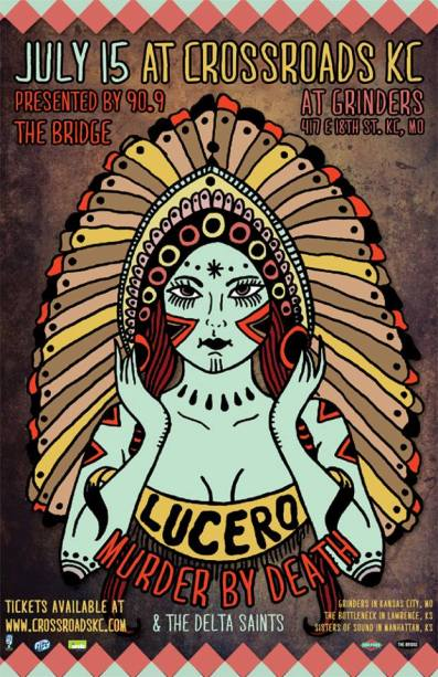 Lucero and Murder By Death show poster for The Crossroads in Kansas City.