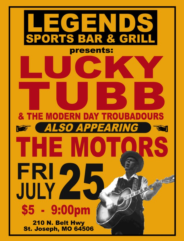 The Motors and Lucky Tubb & The Modern Day Troubadours will play the Legends Sports Bar deck on 7/25/14.