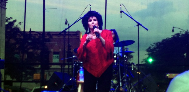 76 year old Wanda Jackson climbs on stage and performs in Columbia, Missouri on 7/30/14 for her 60th year of playing music.