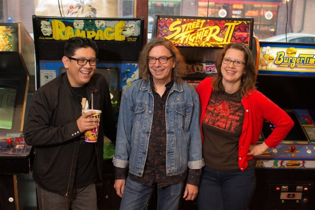 Deco Auto (Steven Garcia, Pat Tomek and Tracey Flowers) pose for their Tuning Fork cover shoot in the Screenland Amour Arcade in North Kansas City, MO.