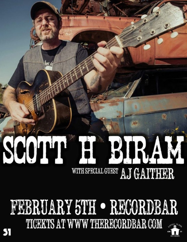 Scott H Biram with AJ Gaither show poster for the Record Bar in Kansas City, MO on February 5th 2015.