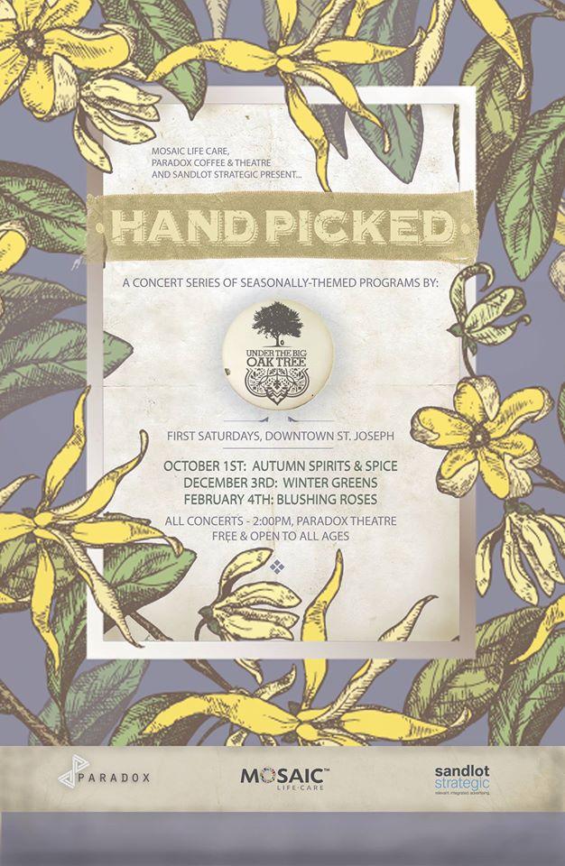 "Under The Big Oak Tree's ""Handpicked"" concert poster"