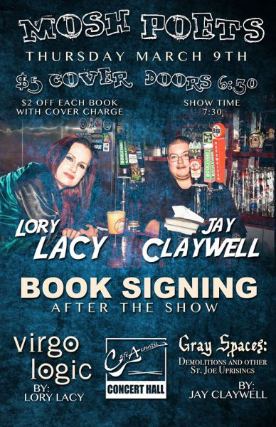 Mosh Poets with Lory Lacy and Jay Claywell Cafe Acoustic poster. Poster by Bret Yager.