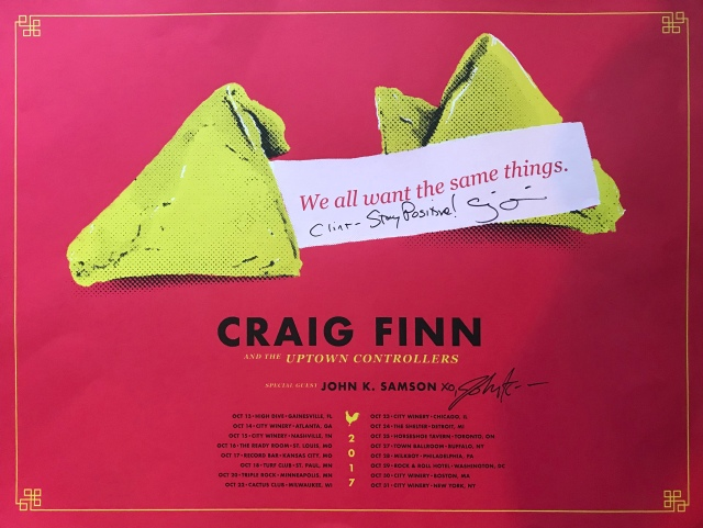 "Signed Craig Finn and John K. Samson tour poster for the ""We all want the same things"" tour in 2017."