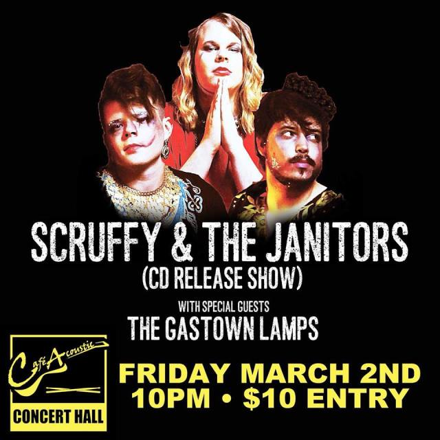 Concert poster for the Modeling Is Hard cd release show by Scruffy & The Janitors with special guests The GasTown Lamps on 3/2/18 at Cafe Acoustic in St. Joseph, Missouri.