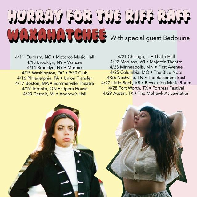 Hurray For The Riff Raff and Waxahatchee with Bedouine tour poster